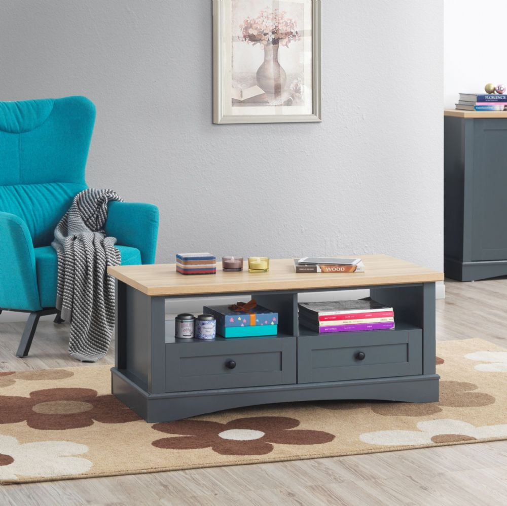 Carden Grey Coffee Table with 2 Drawers